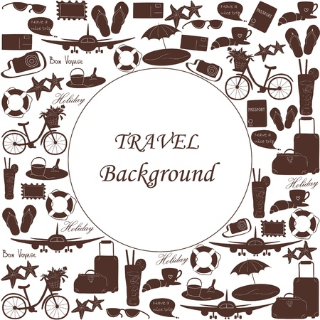 Travel background with icons and empty space  Illustration  Illustration