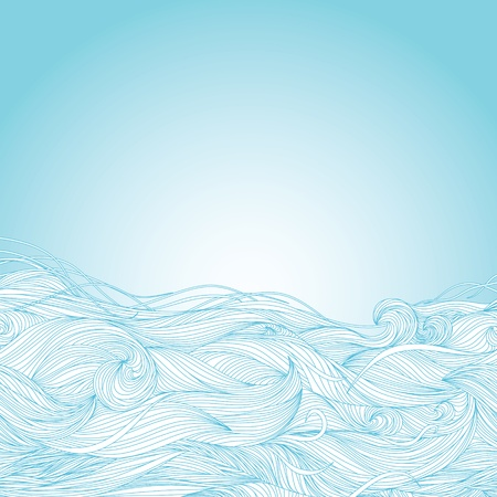 Abstract light blue hand-drawn pattern, waves background  Illustration