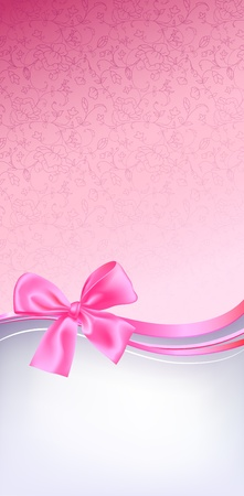 pink bow: Background, banner template, pink  hues, gift bow.