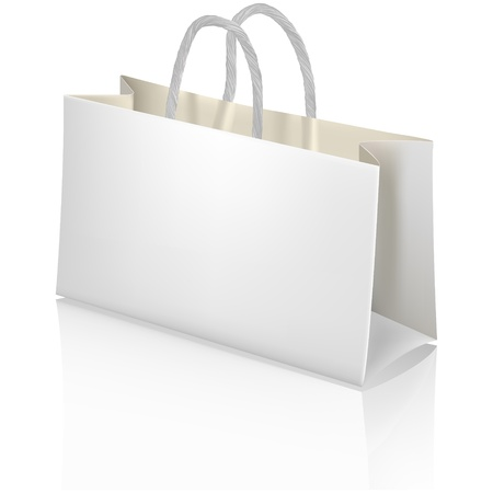 White paper shopping bag  Designer template  Vector