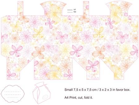 Favor box die cut. Floral pattern. Empty label.  Vector