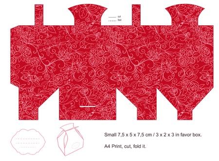 Favor box die cut  Floral pattern  Blank label   Illustration