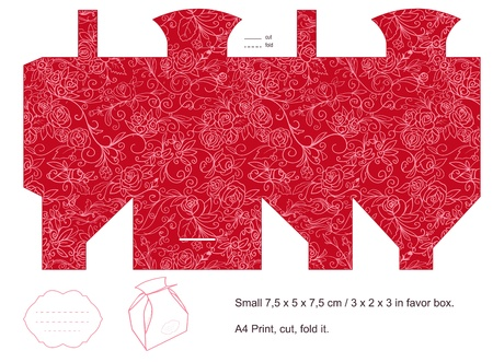 Favor box die cut  Floral pattern  Blank label   Vector