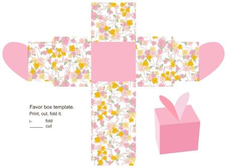 dieline: Favor box die cut  Floral pattern  Empty label