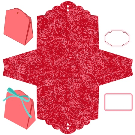 favor: Box template  Floral pattern  Empty label
