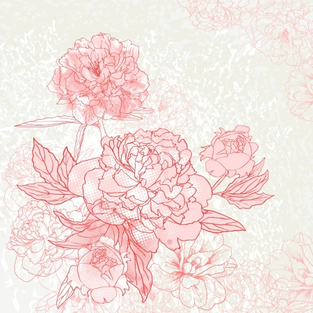 Abstract romantic vector background with peony