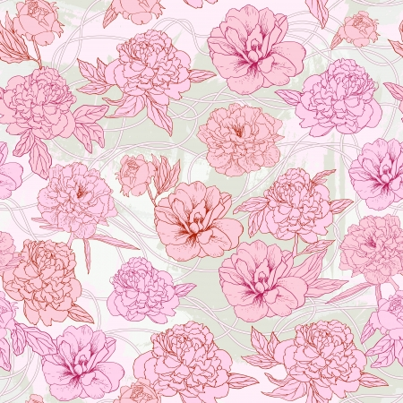 Abstract Nature Pattern with flowers. Endless pattern can be used for wallpaper, pattern fills, web page background, surface textures   Vector