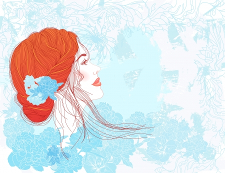 Beauty template: Pretty young woman with beautiful red hair on floral background. Vector