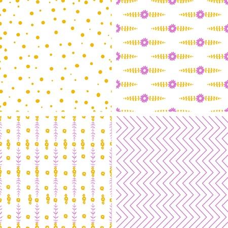 Ensemble de quatre modèles sans couture avec des couleurs pour bébés destinés aux tissus ou d'illustration papier d'emballage Vecteurs