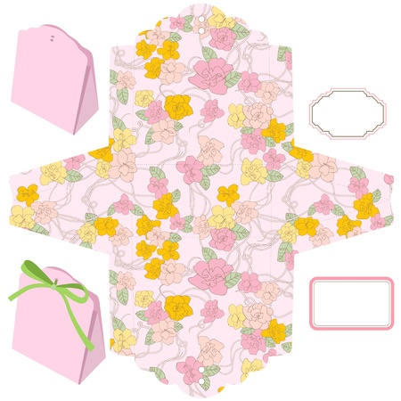 Box template. Floral pattern. Blank label.  Vector
