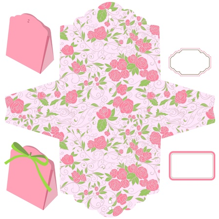 dieline: Box template. Floral pattern. Pink roses. Blank label.