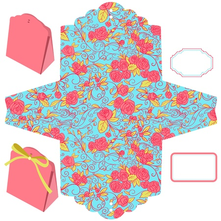 Box template. Floral pattern. Empty label. Stock Vector - 13830907