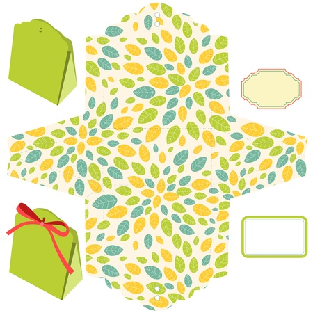 Box template. Leaf pattern. Blank label.  Vector