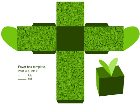 Favor box die cut. Grass pattern. Empty label.