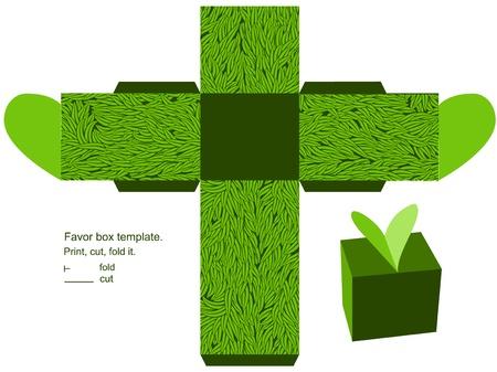 die cut: Favor box die cut. Grass pattern. Empty label.