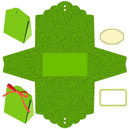 Box template. Grass pattern. Empty label.
