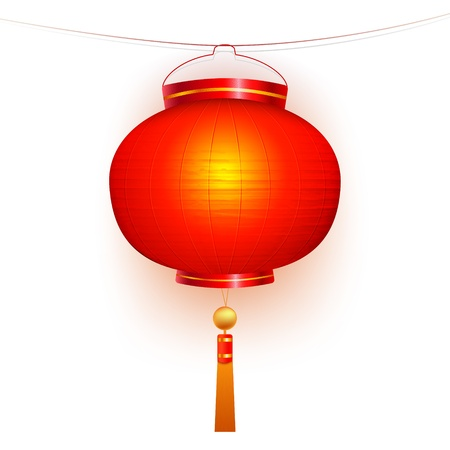 Red Chinese traditional paper lantern. Isolated on white background.