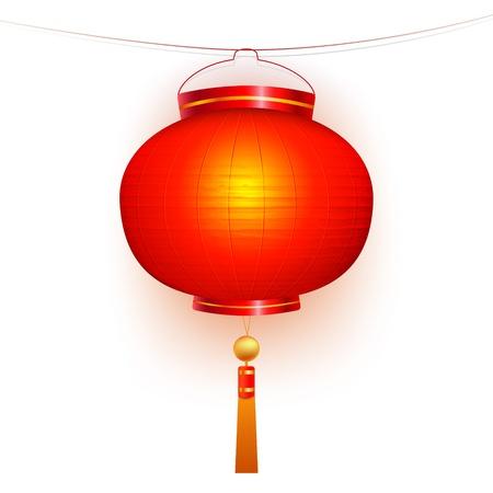 Red chinesischen traditionellen Papier-Laterne. Isoliert auf weißem Hintergrund.