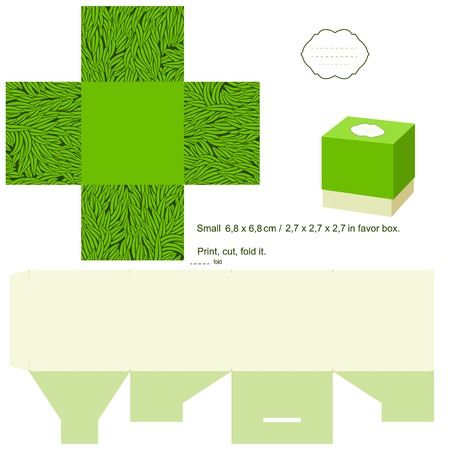 Favor box die cut. Grass pattern. Empty label.