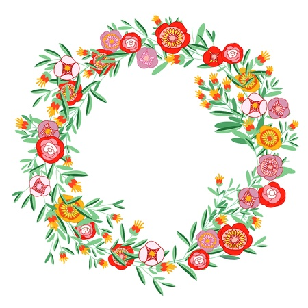 wreath design: Wreath of flowers and leaves. Retro style.