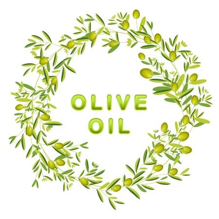 olijf: Krans van olijven en bladeren. Geïsoleerd. Olijfolie tekst. Stock Illustratie