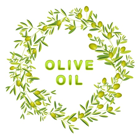 olive illustration: Wreath of olive and leaves. Isolated. Olive oil text.
