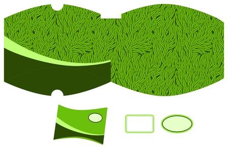 die cut: Pillow Box template. Grass pattern. Empty label.