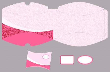 Box template. Roses pattern. Empty label.  Illustration