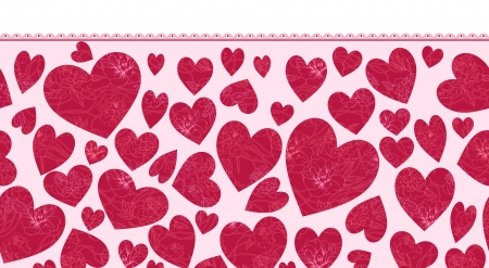 Textured Hearts Horizontal Seamless Pattern Ornament Vector