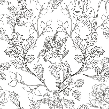Abstract Nature Pattern with plants, flowers. Monochrome. Endless pattern can be used for wallpaper, pattern fills, web page background, surface textures.  Vector