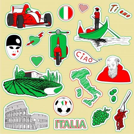 vespa piaggio: Impostare dei bozzetti scarabocchiare. Turistica d'Italia icone. Vettoriali