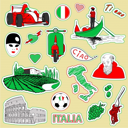 Set of the doodle sketches. Italy travel icons.  Stock Vector - 14088181