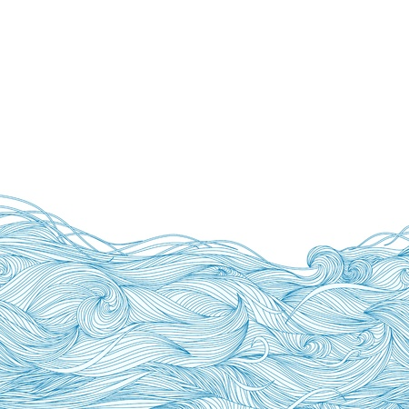 Abstract hand-drawn pattern, waves background  Vector