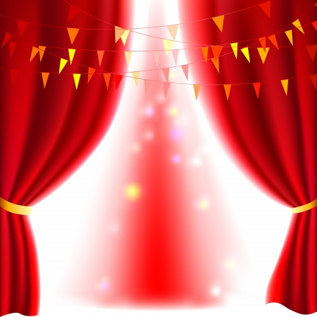 theatrical performance: Movie or theatre curtain with a bright spotlight Illustration