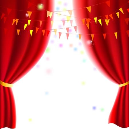 Film oder Theater Vorhang mit einer Party Fahnen