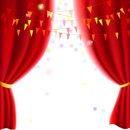 classical theater: Movie or theatre curtain with a party flags