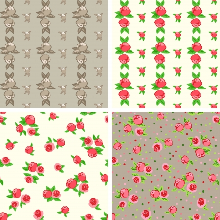 Set of 4 Abstract Nature Pattern with roses. Endless pattern can be used for wallpaper, pattern fills, web page background, surface textures.  Vector