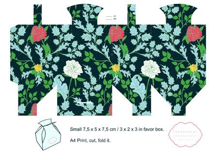 dieline: Box template. Floral pattern. Empty label.