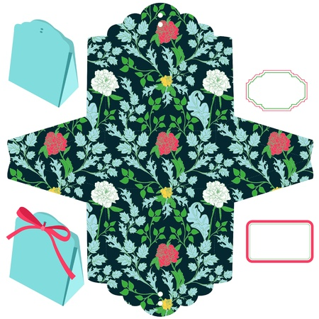 favor: Box template. Floral pattern. Empty label.