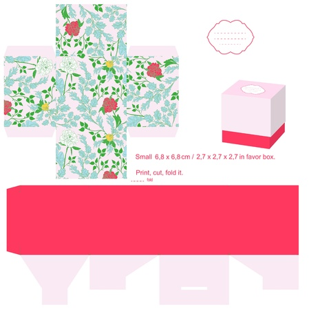Box template. Floral pattern. Empty label.  Stock Vector - 14088195