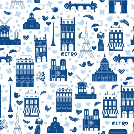 Love Paris, doodles symbols of Paris