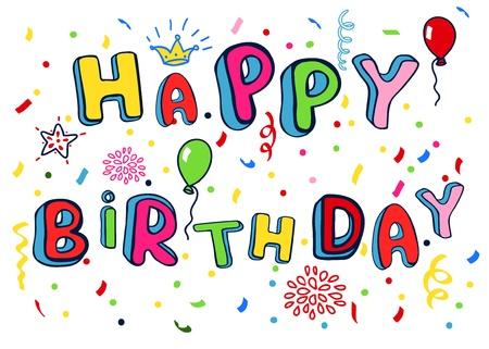 Alles Gute zum Geburtstag Plakat. Regenbogen-Farbe Buchstaben. Illustration