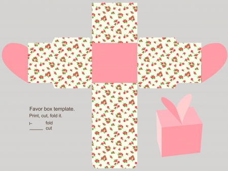 Box template. Floral pattern. Empty label.  Stock Vector - 14182425