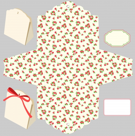 die cut: Box template. Floral pattern. Empty label.