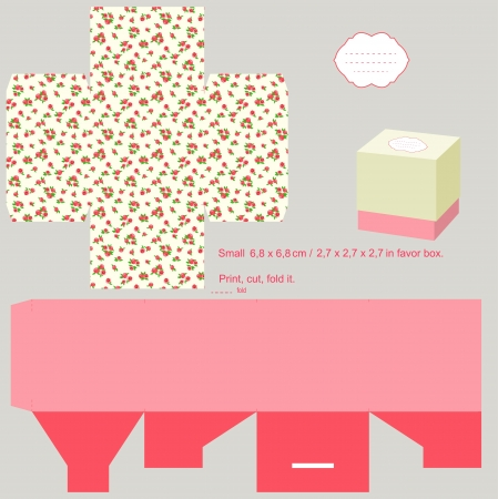favor: Box template. Roses pattern. Empty label.  Illustration