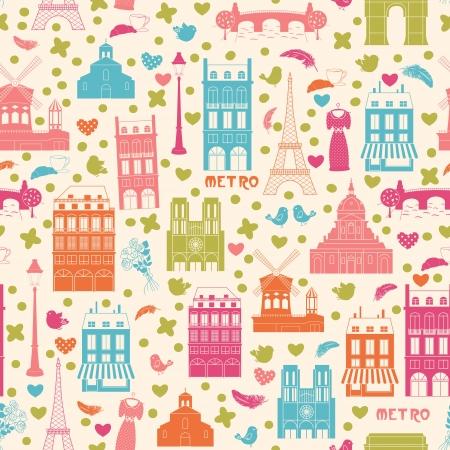 paris vintage: El amor en Par�s, s�mbolos garabatos de Par�s. Patr�n sin fin. Puede ser utilizado para el papel pintado, patrones de relleno, el dise�o de la tela de fondo de p�ginas web, texturas de la superficie,.