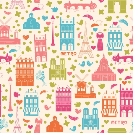 Love Paris, doodles symbols of Paris. Endless pattern. Can be used for wallpaper, pattern fills, web page background, surface textures, fabric design.