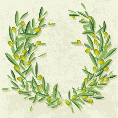 Olive Kranz in der Grunge-Hintergrund. Olive Olivenbaum und Zweige mit leeren copyspace. Illustration