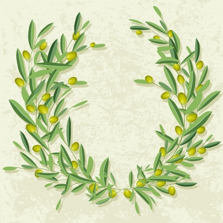 olive illustration:  Olive wreath in the grunge background. Olive and olive tree branches with empty copyspace.