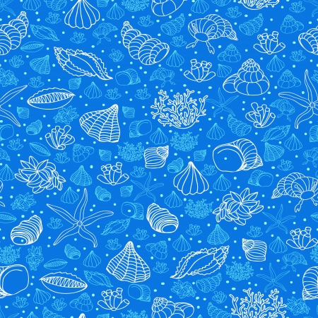 Abstract blue background with seashells, starfish and algae. Concept of seaside, resort, vacation, diving. Texture for print, wallpaper, textile, cover. Vector